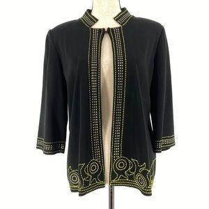 Ming Wang Black Acrylic Embroidered Cardigan